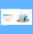 business taxi landing page man waiting for car vector image vector image