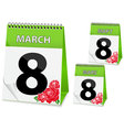 Calendar icon on March 8 vector image vector image