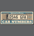 car number plate replacement shop retro poster vector image vector image