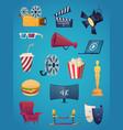 cinema icon collection movie theatre vector image vector image
