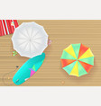colored sun umbrellas surfboard flip-flops and a vector image vector image
