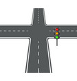 crossroads view flat intersection trafficlight vector image vector image