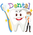Dentist and clean tooth vector image