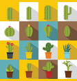 different cactuses icons set flat style vector image vector image
