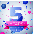 Five years anniversary celebration on grey vector image vector image