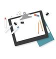 Flat design mockup per creative workspace vector image vector image