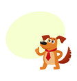 funny dog character in red tie showing thumb up vector image