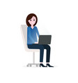 girl businesswoman working with laptop sitting vector image vector image