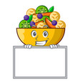 grinning with board fruit salad in glass bowl vector image