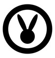 hare or rabbit head icon black color in circle vector image vector image
