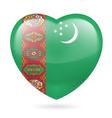 Heart icon of Turkmenistan vector image