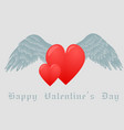hearts and white wings vector image vector image