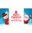 invite or greeting card with santa and snowman vector image vector image