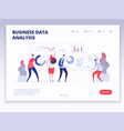 landing page people with dashboard and data vector image