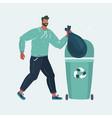 man throwing trash into a basket vector image vector image