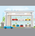 modern car dealership showroom interior and vector image vector image