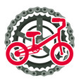 mountain bicycle with chain and sprocket vector image vector image
