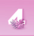 number four pink elegant vector image