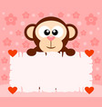 pink valentines day background card with monkey vector image vector image