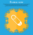 Pushpin icon sign Floral flat design on a blue vector image