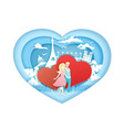 romantic love in paper art vector image vector image