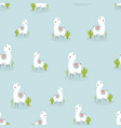 seamless pattern with lovely llama vector image