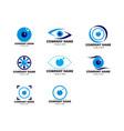 set eye ball icon logo template vector image vector image