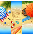 set of three summer beach vector image