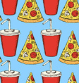 Sketch soda and pizza in vintage style vector image vector image