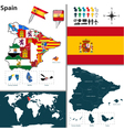 Spain map with regions and flags vector image vector image