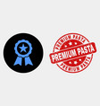 star seal icon and grunge premium pasta vector image vector image