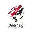 toasting beer bottles logo design idea vector image