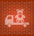 truck with bear whitish icon on brick vector image vector image