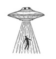 ufo kidnaps human sketch engraving vector image vector image