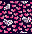 valentines hearts banner pattern vector image vector image