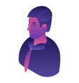 violet man avatar icon isometric style vector image vector image