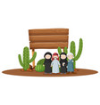 wooden sign with arab people under vector image vector image
