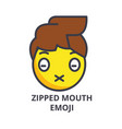 zipped mouth emoji line icon sign vector image