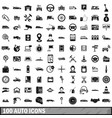 100 auto icons set simple style vector image vector image