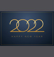 2022 new year sleek design - golden logo vector image vector image