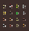 alcoholic drinks bottles and recommended glasses vector image