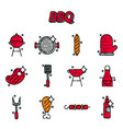 barbecue and grill icon set vector image vector image