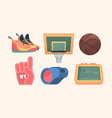 basketball equipment set sports orange sneakers vector image