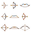 bow arrow weapon icons set cartoon style vector image vector image