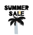 card with lettering summer sale and palm in vector image
