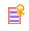 certificate with honor circled label with ribbon vector image