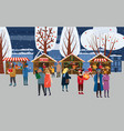 christmas fair market anthropomorphic set of vector image