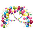 color glossy balloons colored confetti with vector image vector image