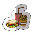 color sandwich soda and fries french icon vector image vector image