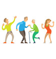 dancing old couple young and senior people vector image vector image